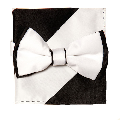 Bow Tie Handkerchief Set Two Tone WHITE / BLACK Color BowTie Hanky Pocket Square