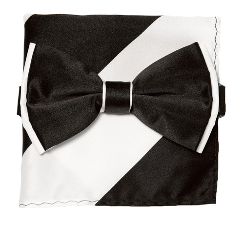 Bow Tie Handkerchief Set Two Tone BLACK / WHITE Color BowTie Hanky Pocket Square