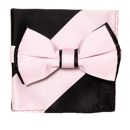 Bow Tie Handkerchief Set Two Tone PINK / BLACK Color BowTie Hanky Pocket Square