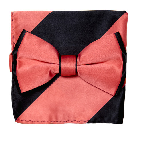 Bow Tie Handkerchief Set Two Tone CORAL PINK / BLACK BowTie Hanky Pocket Square