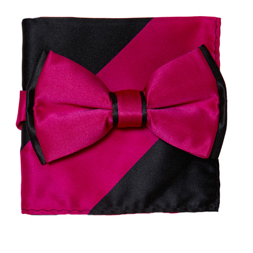 Bow Tie Handkerchief Set Two Tone HOT PINK / BLACK BowTie Hanky Pocket Square