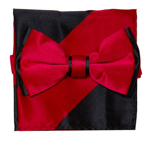 Bow Tie Handkerchief Set Two Tone RED / BLACK Color BowTie Hanky Pocket Square