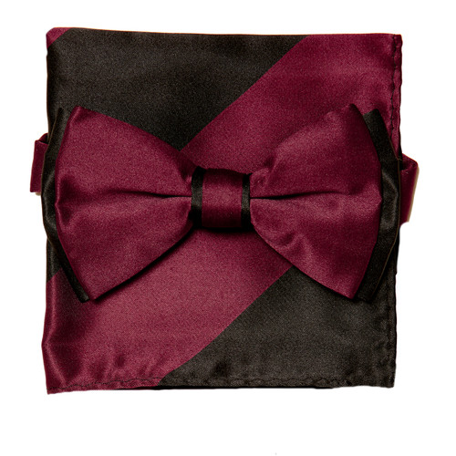 Bow Tie Handkerchief Set Two Tone BURGUNDY / BLACK Color BowTie Hanky Pocket Square
