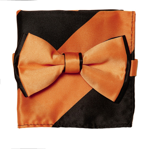 Bow Tie Handkerchief Set Two Tone ORANGE / BLACK Color BowTie Hanky Pocket Square