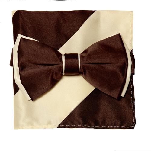 Bow Tie Handkerchief Set Two Tone BROWN / CREAM Color BowTie Hanky Pocket Square