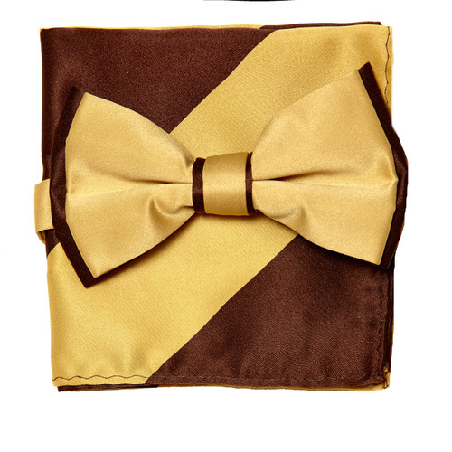 Bow Tie Handkerchief Set Two Tone GOLD / BROWN Color BowTie Hanky Pocket Square