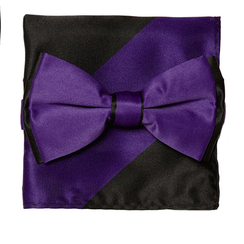 Bow Tie Handkerchief Set Two Tone PURPLE INDIGO / BLACK BowTie Hanky Pocket Square