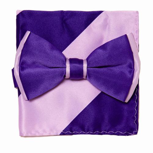 Bow Tie Handkerchief Set Two Tone PURPLE INDIGO / Light PURPLE Color BowTie Hanky Square