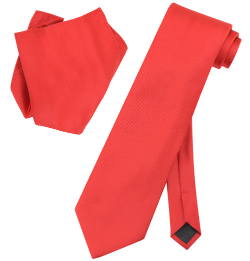 Vesuvio Napoli Solid RED Color Woven NeckTie & Handkerchief Neck Tie Hanky Set