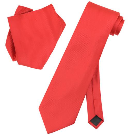 Vesuvio Napoli Solid RED Color Woven NeckTie & Handkerchief Neck Tie Hanky Set