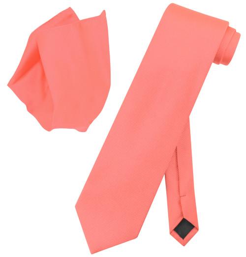 Vesuvio Napoli Solid CORAL PINK Color Woven NeckTie Handkerchief Neck Tie Hanky