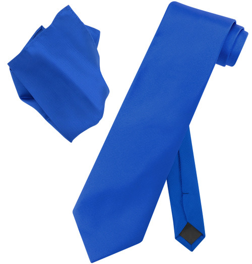 Vesuvio Napoli Solid ROYAL BLUE Color Woven NeckTie Handkerchief Neck Tie Hanky