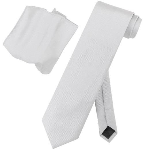 Vesuvio Napoli Solid SILVER GRAY Woven NeckTie Handkerchief Neck Tie Hanky Set