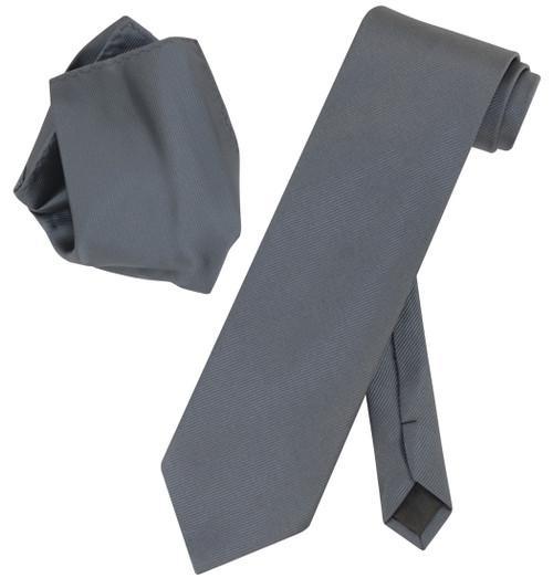 Vesuvio Napoli Solid CHARCOAL GREY Woven NeckTie Handkerchief Neck Tie Hanky