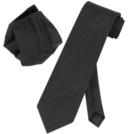 Vesuvio Napoli Solid BLACK Color Woven NeckTie Handkerchief Neck Tie Hanky Set
