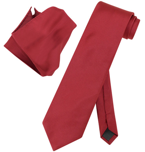 Vesuvio Napoli Solid WINE RED Color Woven NeckTie Handkerchief Neck Tie Hanky