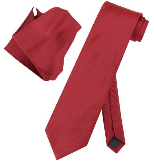Vesuvio Napoli Solid WINE RED Color Woven NeckTie Handkerchief Neck Tie Hanky