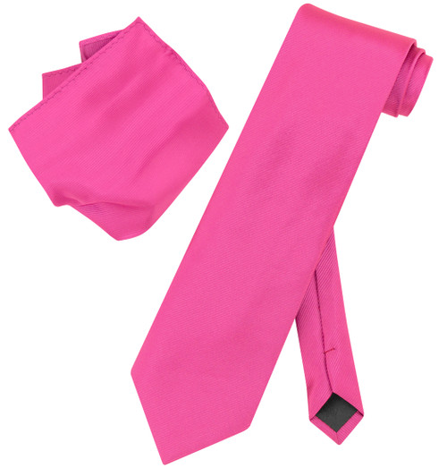 Vesuvio Napoli Solid HOT PINK Color Woven NeckTie & Handkerchief Neck Tie Hanky