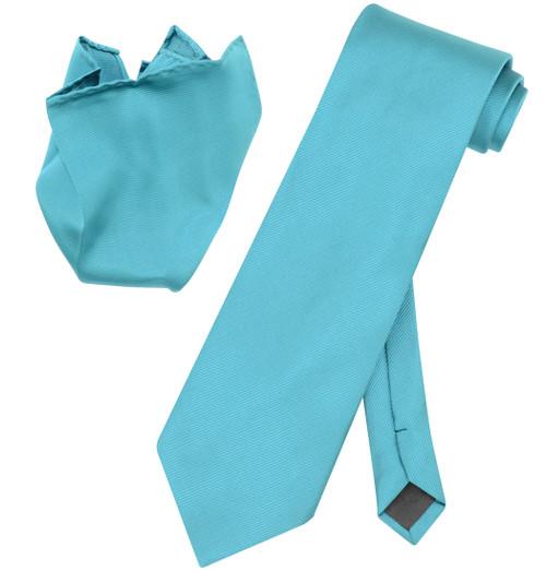 Vesuvio Napoli Solid TURQUOISE BLUE Color Woven NeckTie Handkerchief Neck Tie