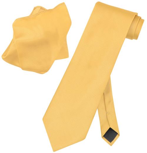 Vesuvio Napoli Solid GOLD Color Woven NeckTie & Handkerchief Neck Tie Hanky Set