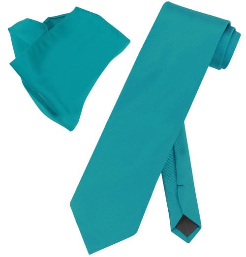 Vesuvio Napoli Solid DYNASTY GREEN Woven NeckTie & Handkerchief Neck Tie Hanky