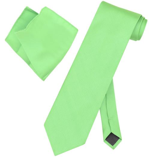 Vesuvio Napoli Solid KIWI GREEN Color Woven NeckTie HandkerchiefNeck Tie Hanky
