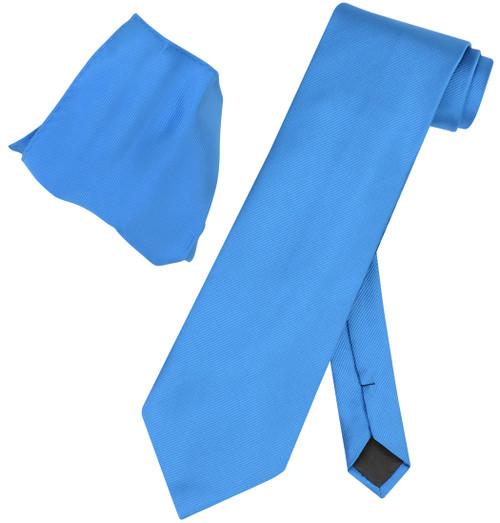 Vesuvio Napoli Solid FRENCH BLUE Woven NeckTie Handkerchief Neck Tie Hanky Set