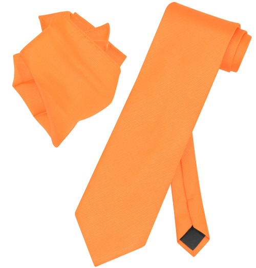 Vesuvio Napoli Solid ORANGE Color Woven NeckTie Handkerchief Neck Tie Hanky Set