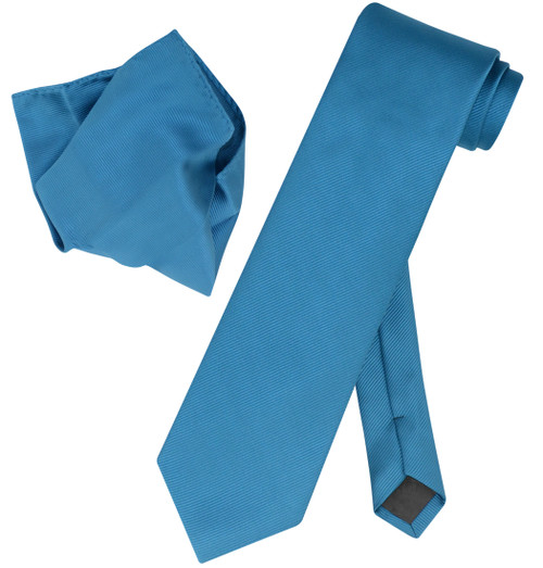 Vesuvio Napoli Solid BLUE SAPPHIRE Woven NeckTie & Handkerchief Neck Tie Hanky