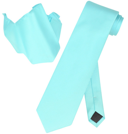 Vesuvio Napoli Solid AQUA GREEN Woven NeckTie & Handkerchief Neck Tie Hanky Set