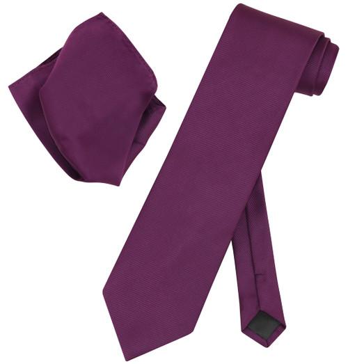 Vesuvio Napoli Solid EGGPLANT PURPLE Woven NeckTie Handkerchief Neck Tie Hanky