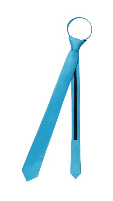 Vesuvio Napoli PreTied Skinny Necktie Solid TURQUOISE BLUE Color Adjustable Narrow Neck Tie Slim Design