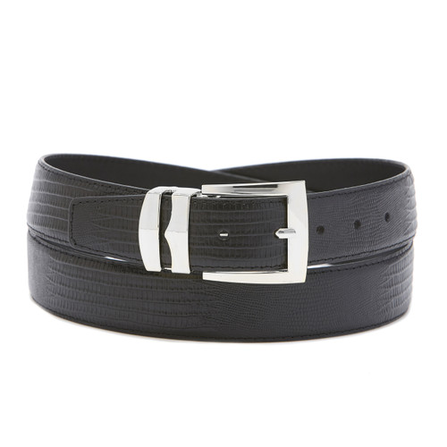 Men's Bonded Leather Belt Solid BLACK Color LIZARD Skin Pattern Silver-Tone Buckle
