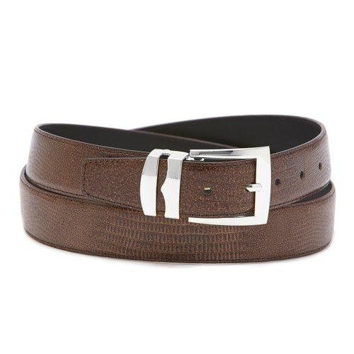 Men's Bonded Leather Belt Solid BROWN Color LIZARD Skin Pattern Silver-Tone Buckle