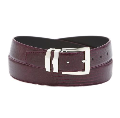 Men's Bonded Leather Belt Solid BURGUNDY Color LIZARD Skin Pattern Silver-Tone Buckle