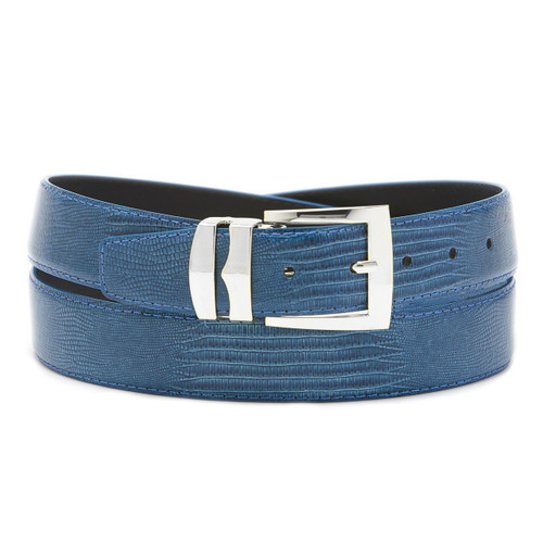 Men's Bonded Leather Belt Solid NAVY BLUE Color LIZARD Skin Pattern Silver-Tone Buckle