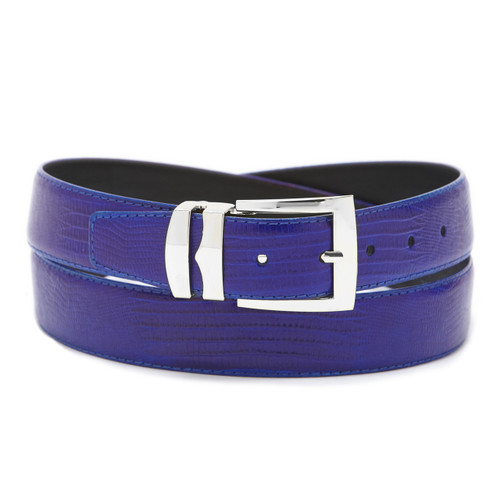 Men's Bonded Leather Belt Solid ROYAL BLUE Color LIZARD Skin Pattern Silver-Tone Buckle