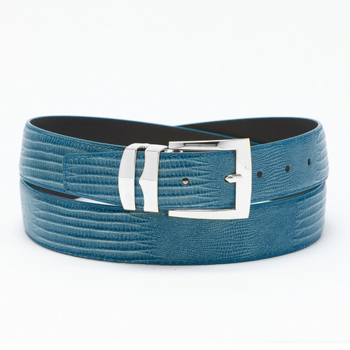 Men's Bonded Leather Belt Solid FRENCH BLUE Color LIZARD Skin Pattern Silver-Tone Buckle