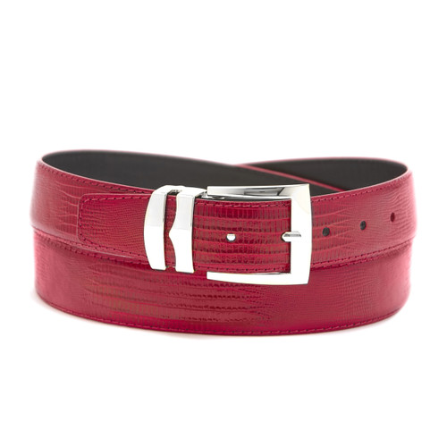 Men's Bonded Leather Belt Solid FIRE RED Color LIZARD Skin Pattern Silver-Tone Buckle