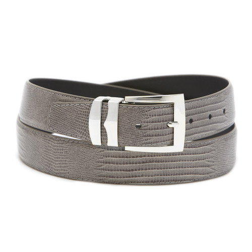 Men's Bonded Leather Belt Solid CHARCOAL GRAY Color LIZARD Skin Pattern Silver-Tone Buckle