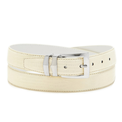 Men's Bonded Leather Belt Solid BONE WHITE Color LIZARD Skin Pattern Silver-Tone Buckle