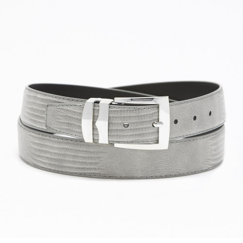 Men's Bonded Leather Belt Solid SILVER GRAY Color LIZARD Skin Pattern Silver-Tone Buckle