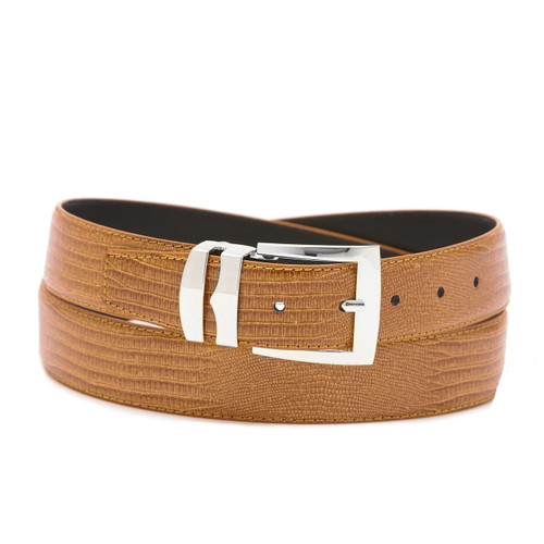 Men's Bonded Leather Belt Solid CONGAC BROWN Color LIZARD Skin Pattern Silver-Tone Buckle