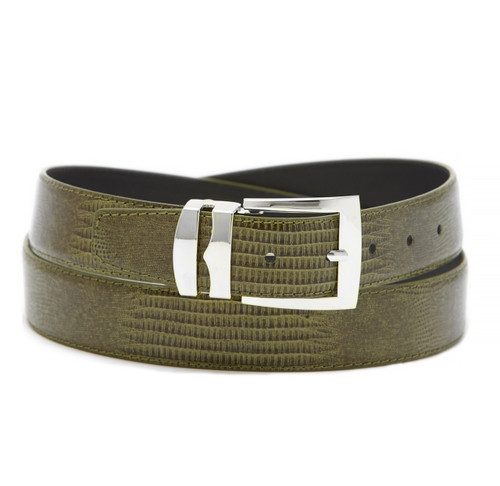 Men's Bonded Leather Belt Solid OLIVE GREEN Color LIZARD Skin Pattern Silver-Tone Buckle