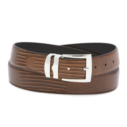 Men's Bonded Leather Belt Solid RUST BROWN Color LIZARD Skin Pattern Silver-Tone Buckle