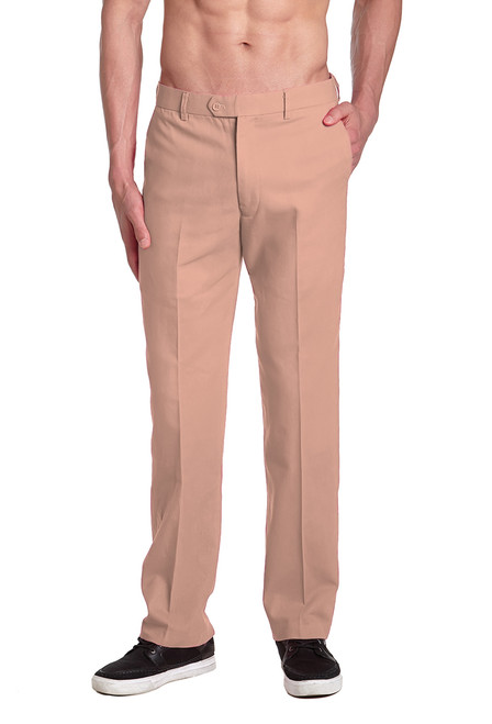 CONCITOR Men's Dress Pants Solid DUSTY PINK / Blush Pink Color Mens Trouser Flat Front Pant