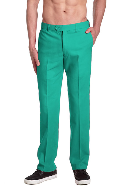 CONCITOR Men's Dress Pants Solid AQUA GREEN Color Mens Trouser Flat Front Pant