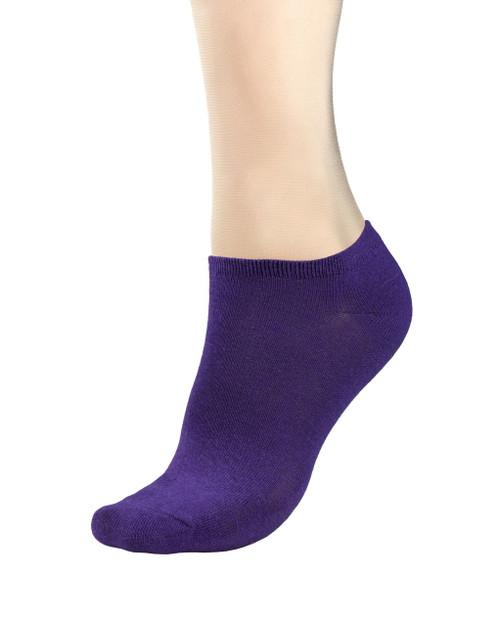 CONCITOR Women's Dress Socks Solid Purple Indigo Color COTTON Low Sock 1 Pair