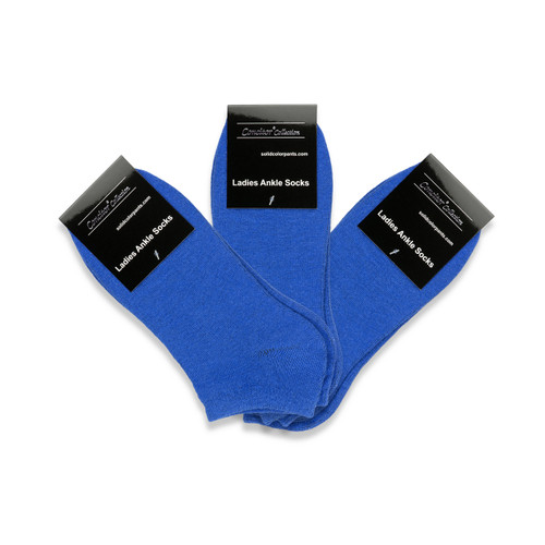 CONCITOR Women's Dress Socks Solid Royal Blue Color COTTON Low Cut Sock 3 Pairs