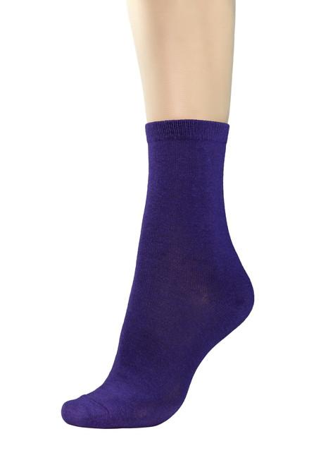 CONCITOR Women's Dress Socks Solid Purple Indigo Color COTTON Mid Sock 1 Pair